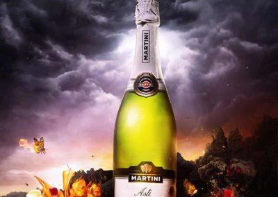 Асти Мартини Asti Martini в винтажной этикетке в стильной рекламе