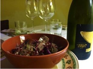 Говядина с бобами и винным желе из Москато д'Асти
